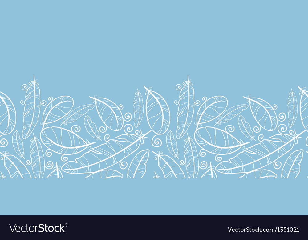 White on blue feathers horizontal seamless pattern vector