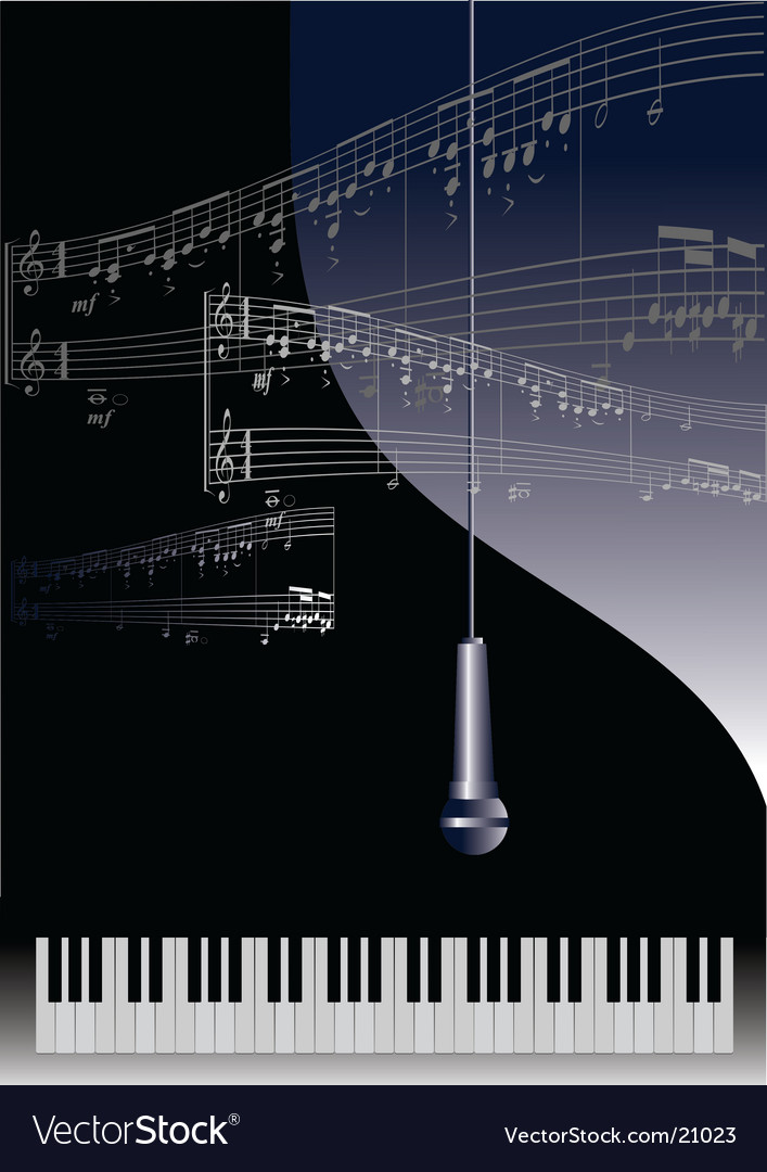 Piano and microphone vector
