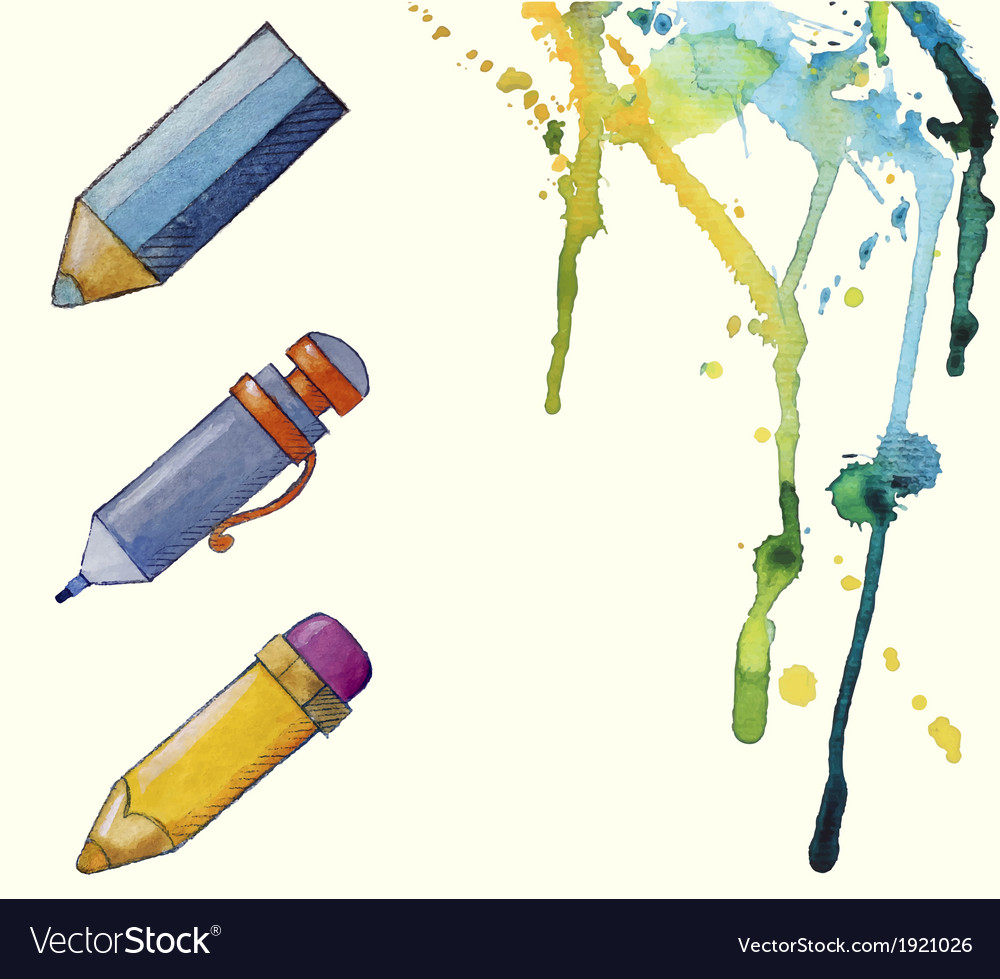 Watercolor painted pencil icons splashes of paint vector