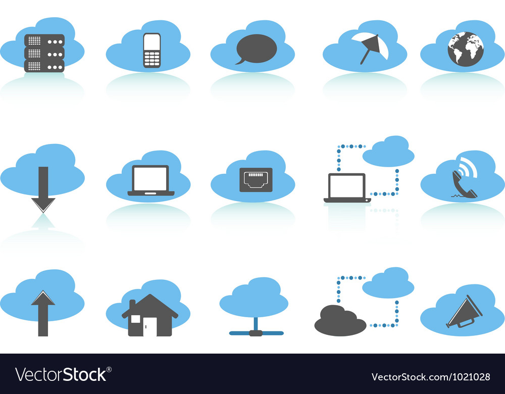 Simple cloud computing icons setblue series vector