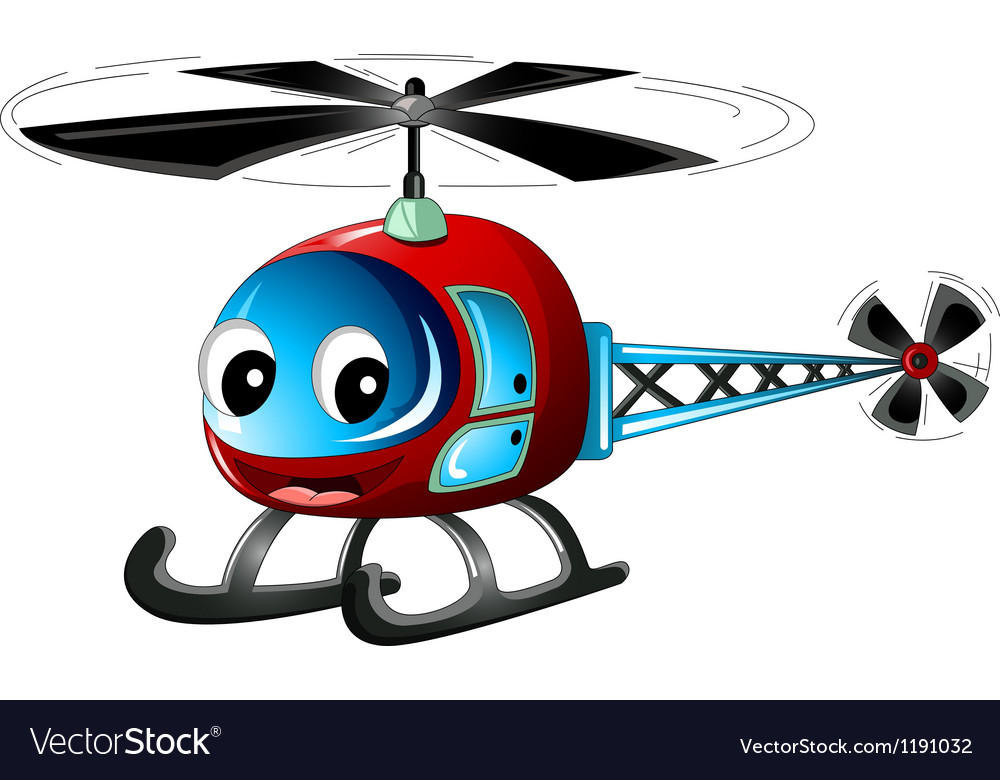Cute helicopter cartoon vector