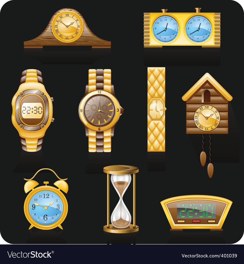 Golden watches vector