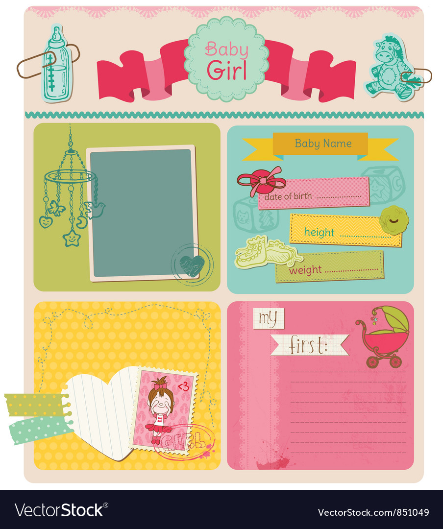 Scrapbook design elements  baby girl cute set vector