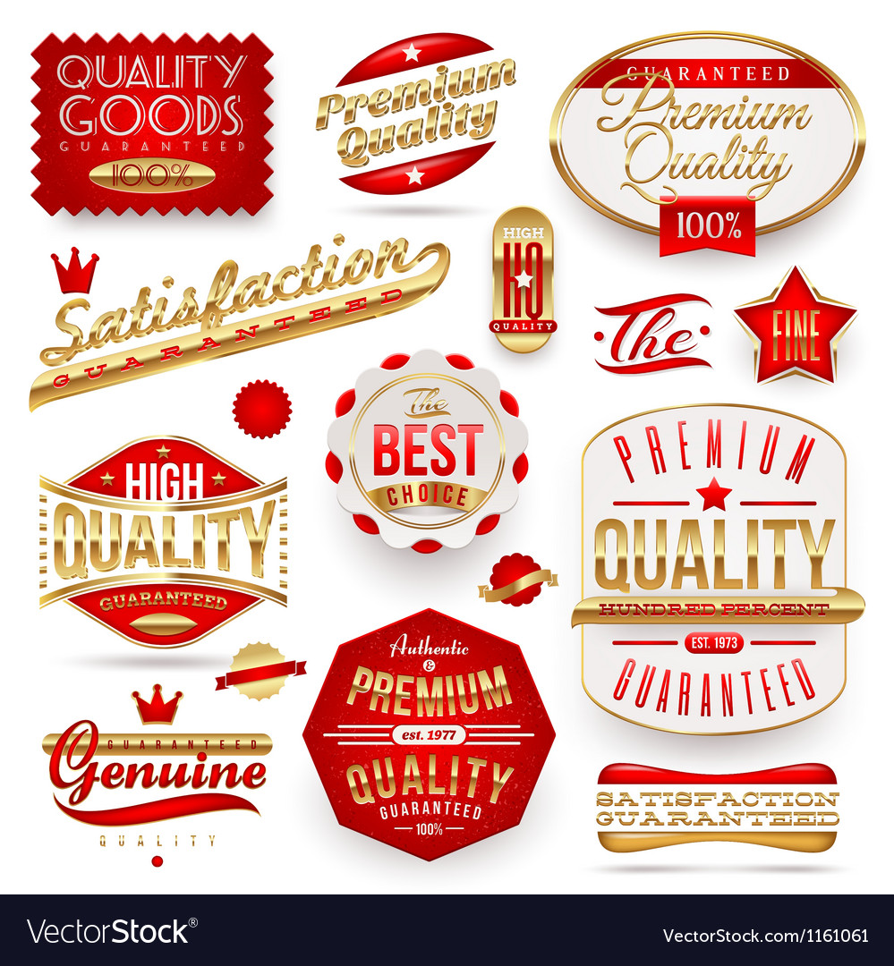 Guaranteed and premium quality  labels vector