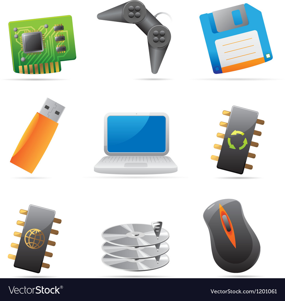 Icons for computer and computer parts vector