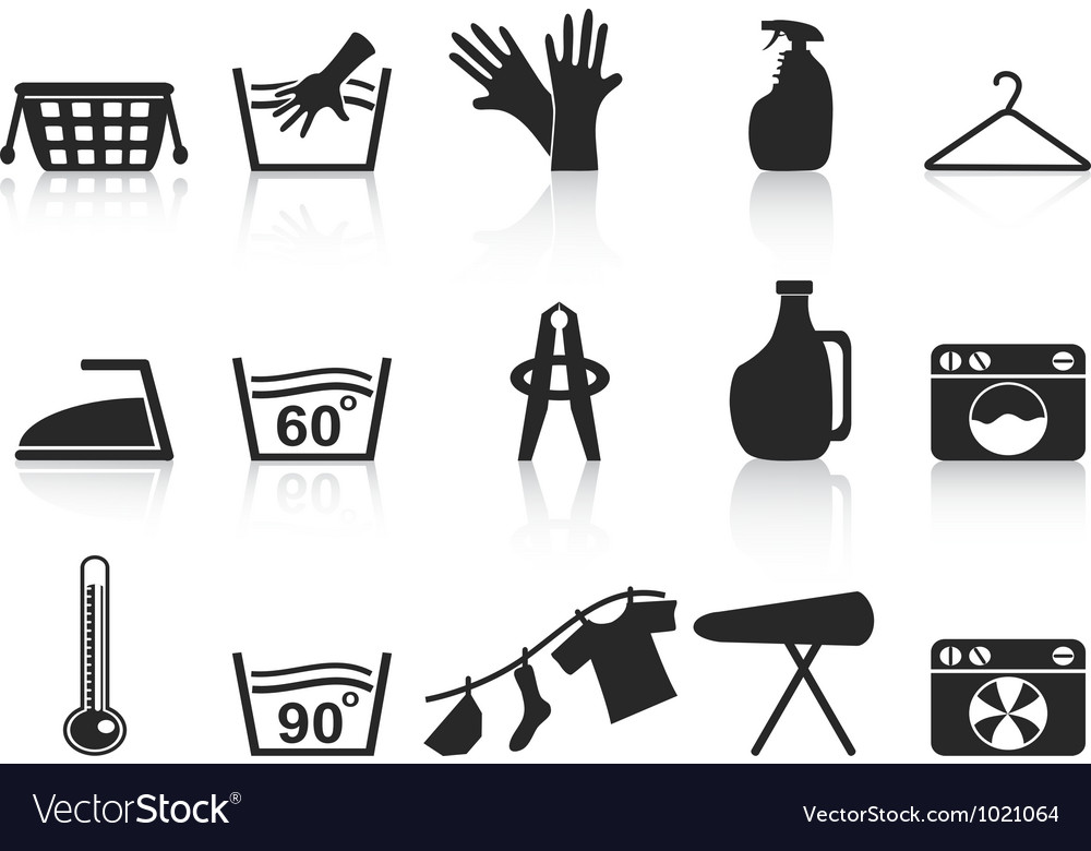 Black laundry icons set vector