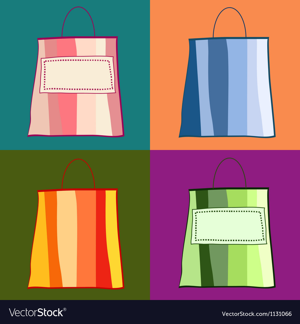 Colorful whimsical shopping bags vector