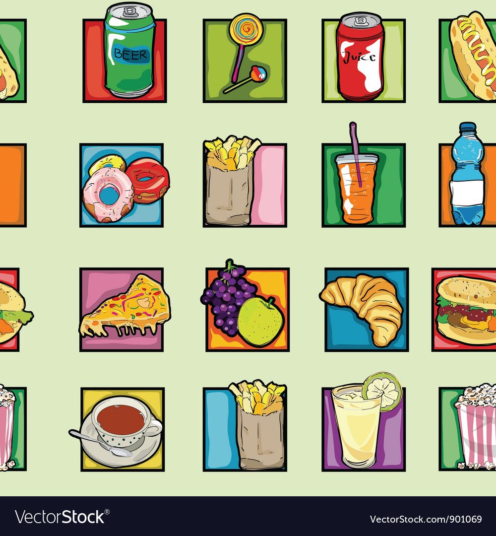 Pop art food pattern vector