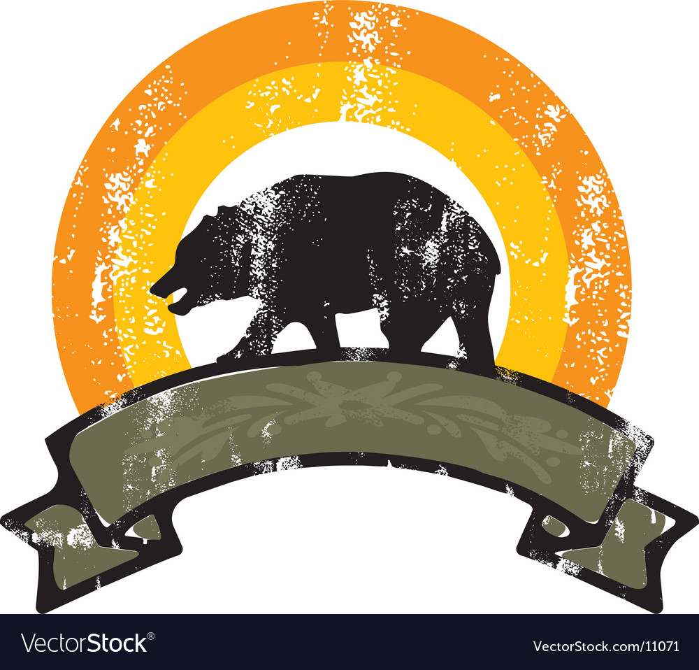 Bear grunge rainbow vector