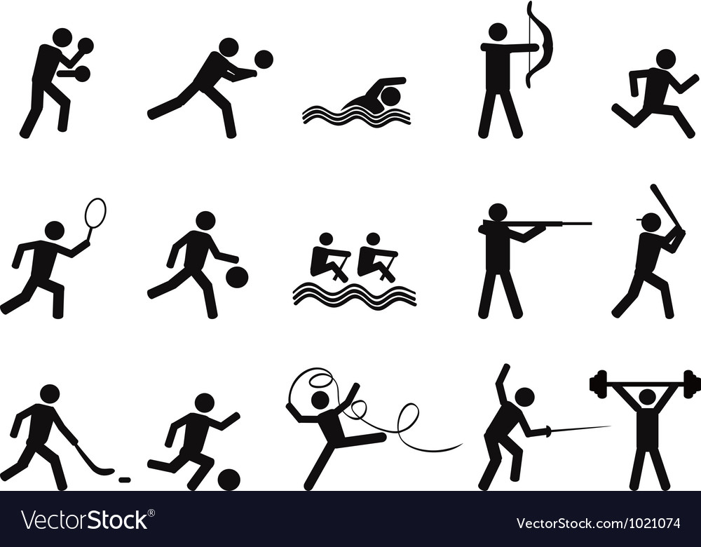 Sport people silhouettes icon vector