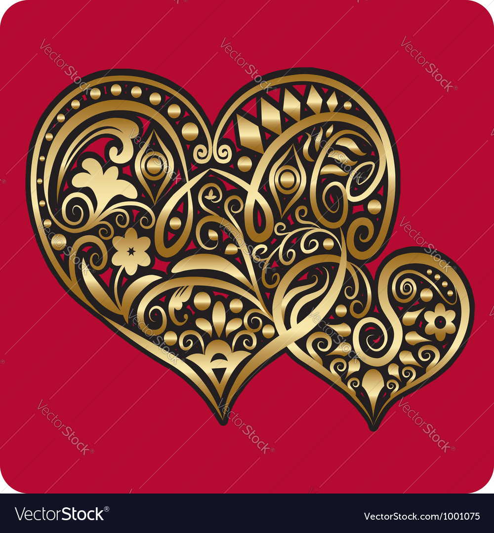 Golden two hearts ornament vector