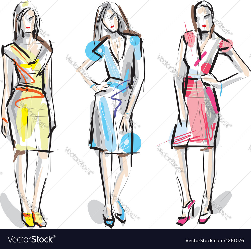 Artistic fashion sketches vector