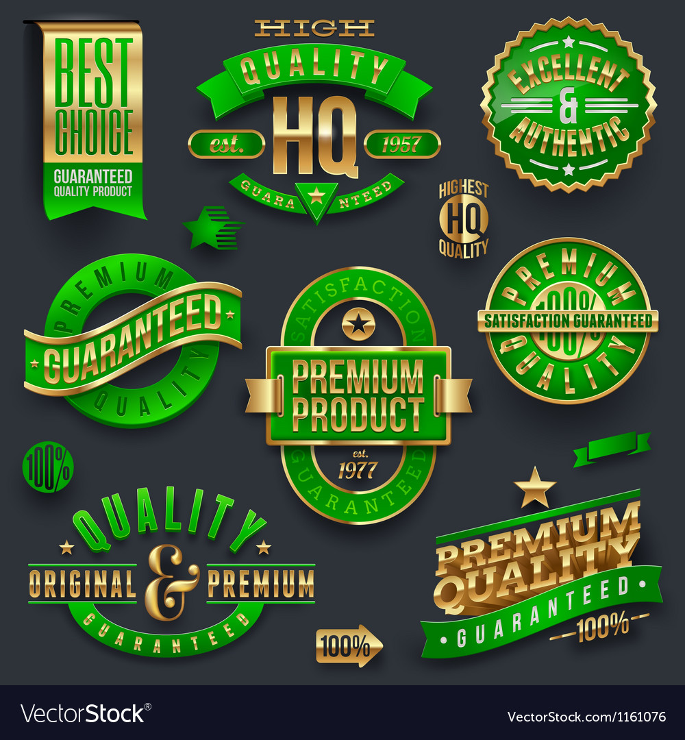 Quality and guaranteed  signs emblems and labels vector