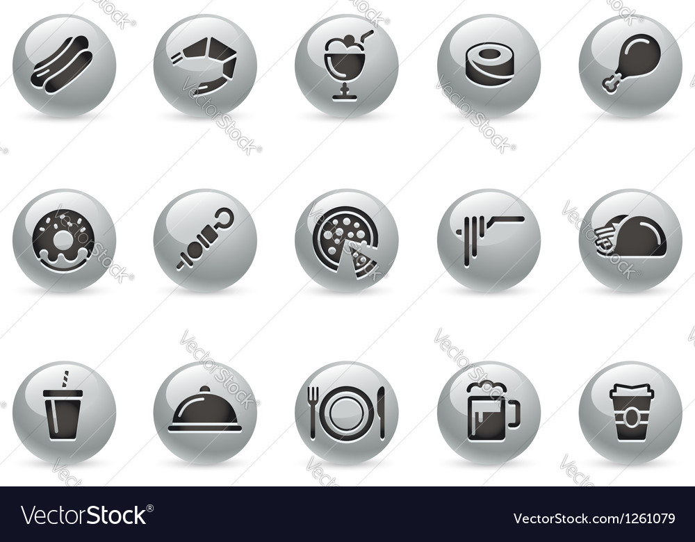 Food icons 2 metalround series vector