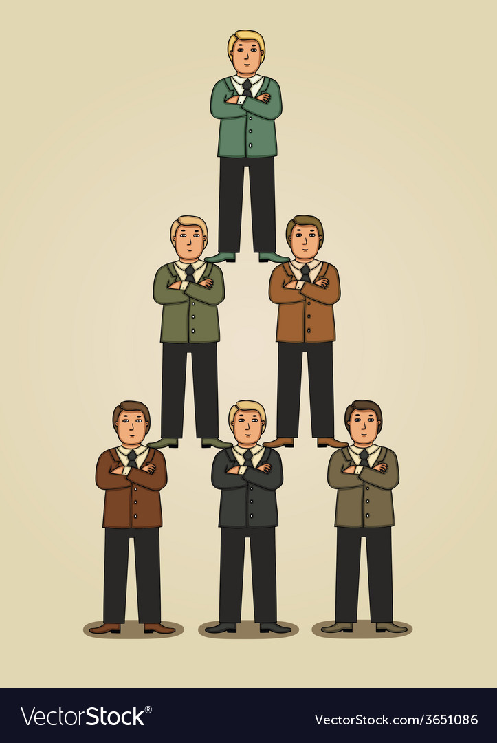 Team work in business pyramid