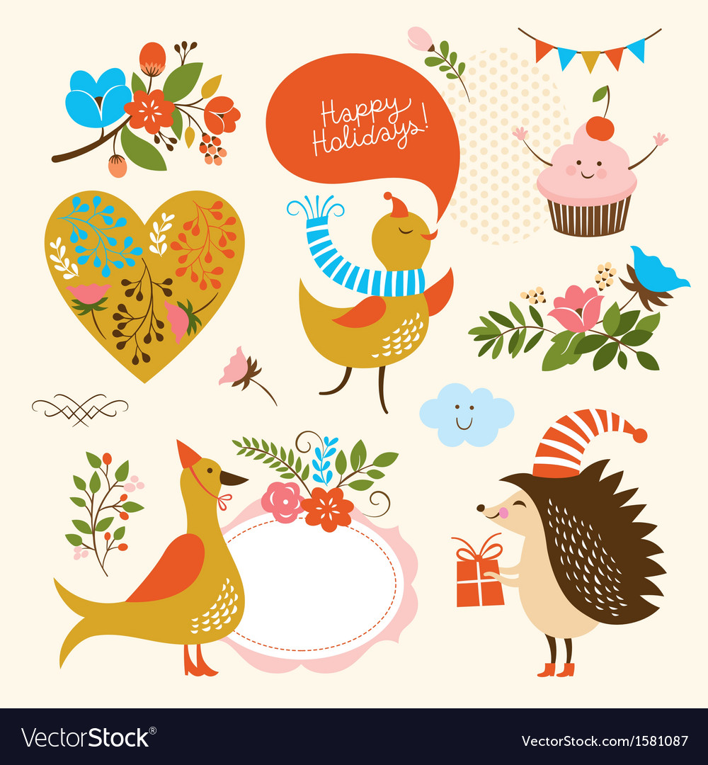 Set of holiday graphic elements vector