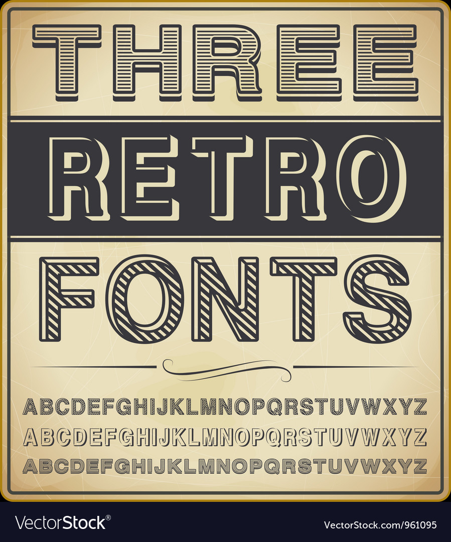 Set of three vintage fonts vector