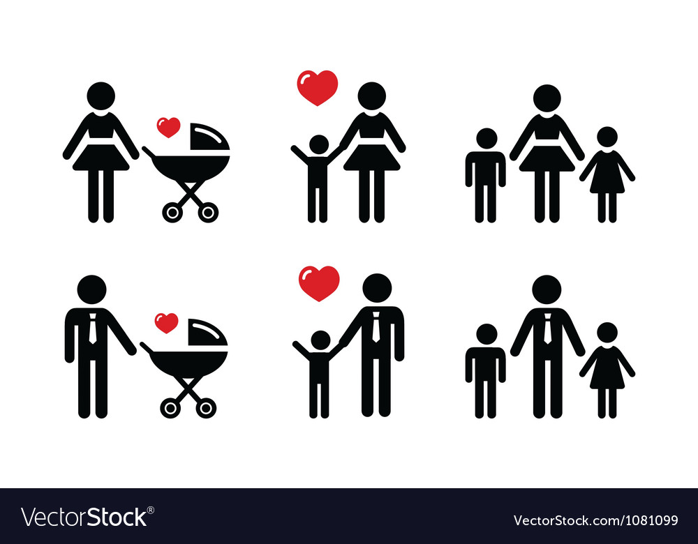 Single parent sign  family icons vector
