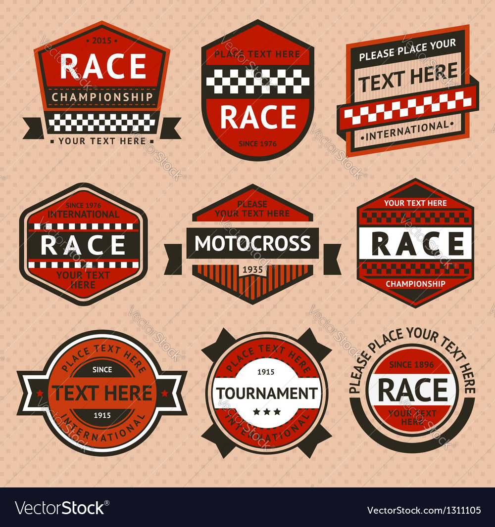 Racing badges set  vintage style vector