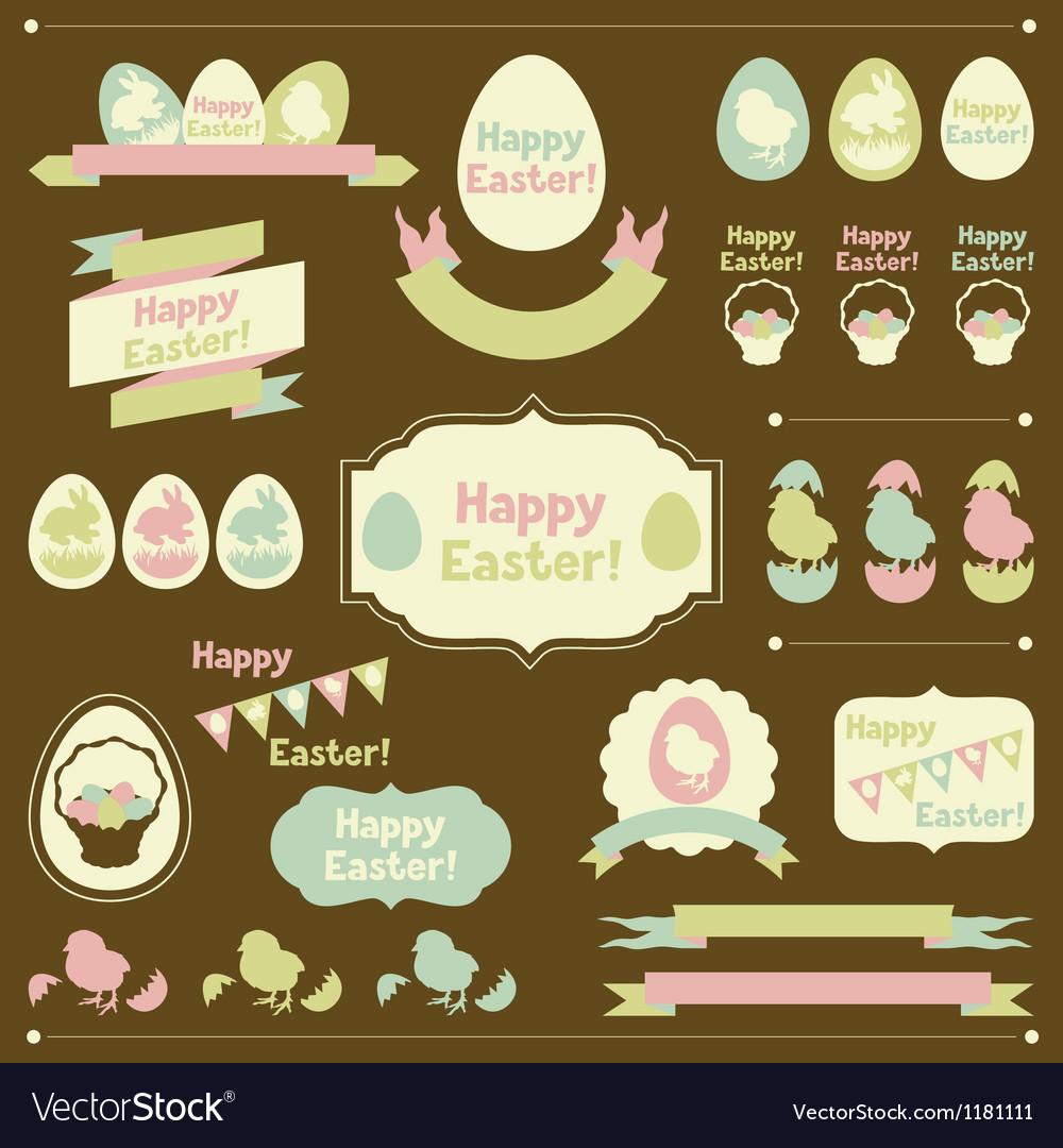 Set of happy easter ornaments and decorative vector