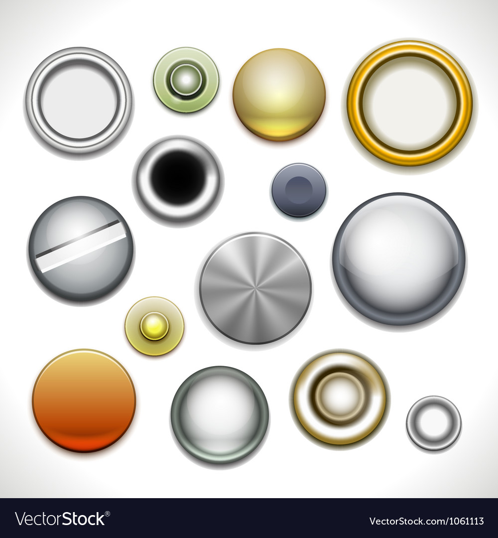 Metal buttons and rivets vector