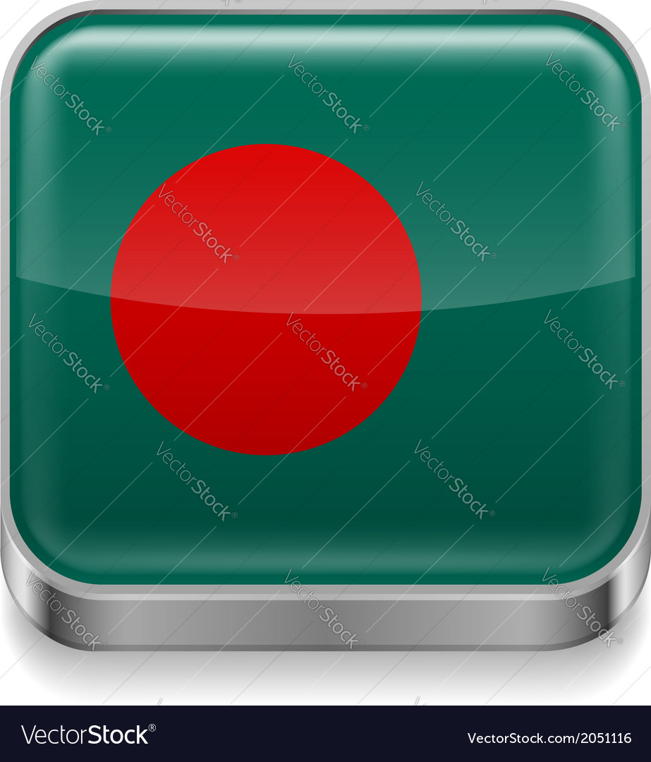 Metal icon of bangladesh vector
