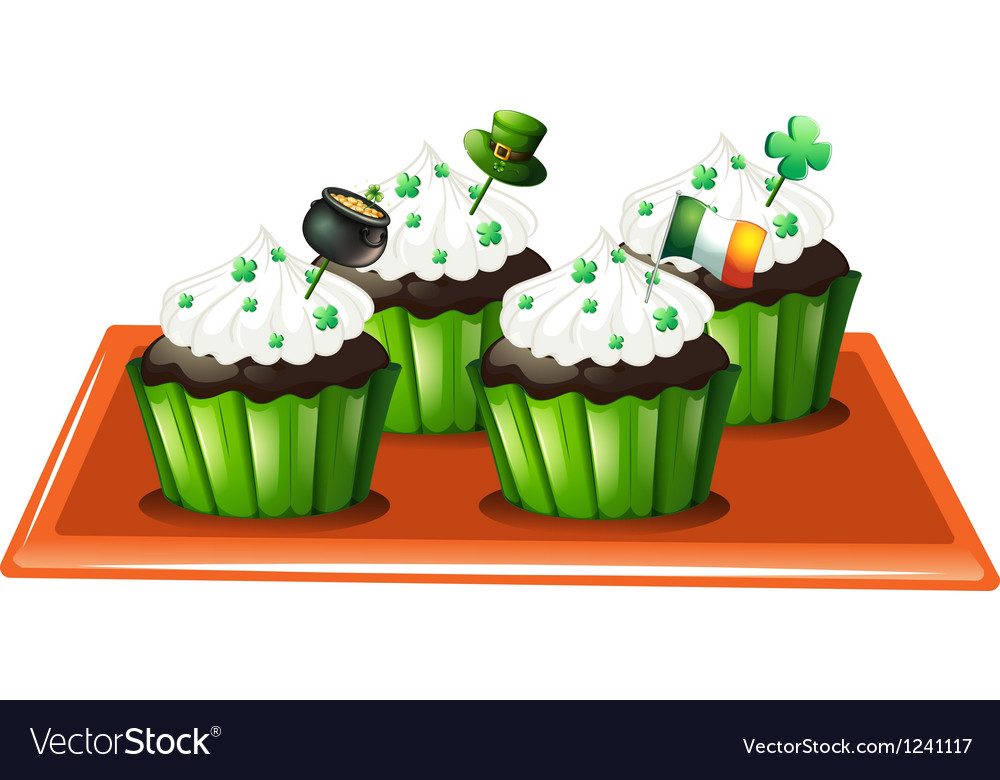 A tray with four chocolate cupcakes vector