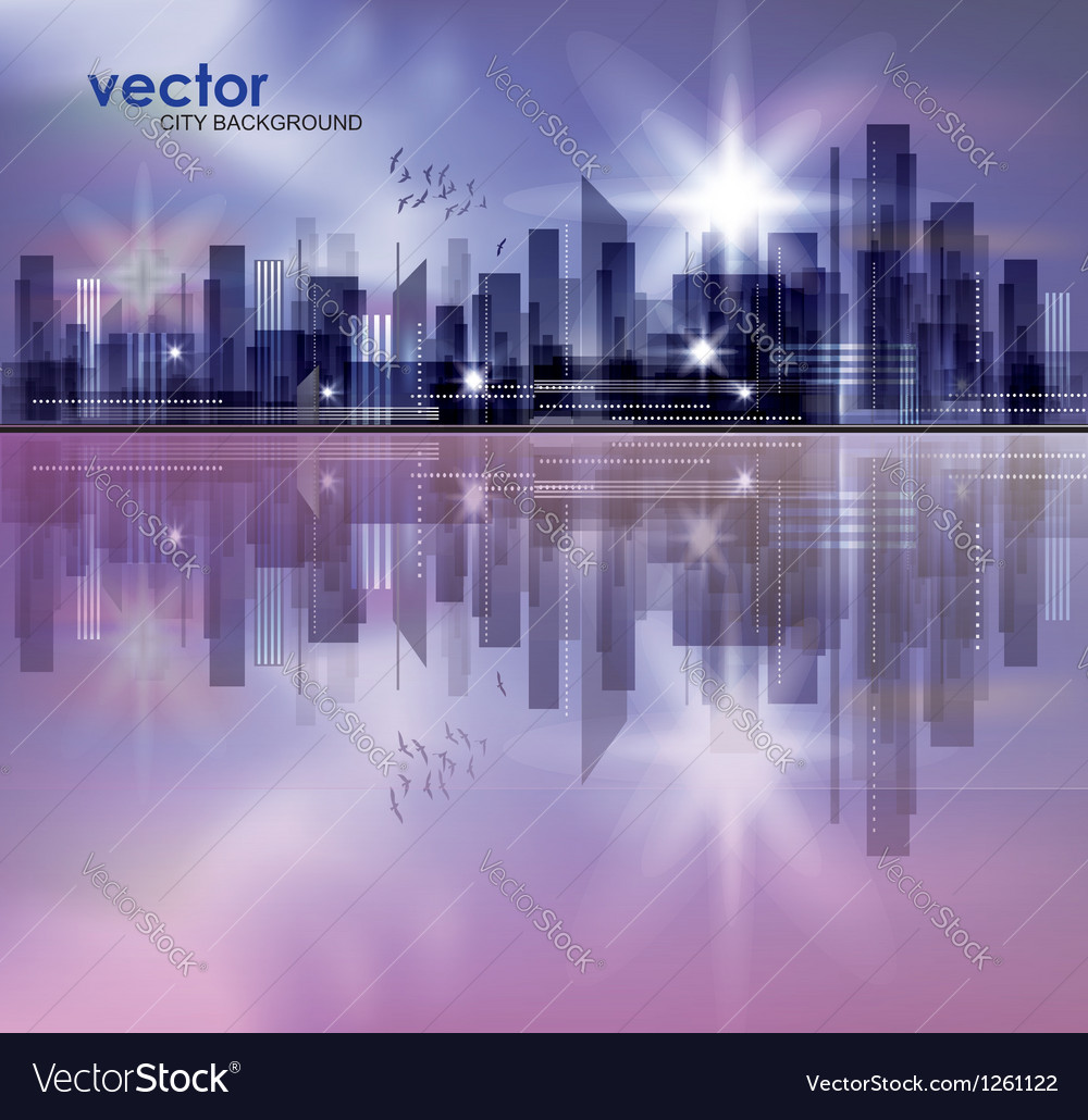 City skyline at night with reflection in water vector