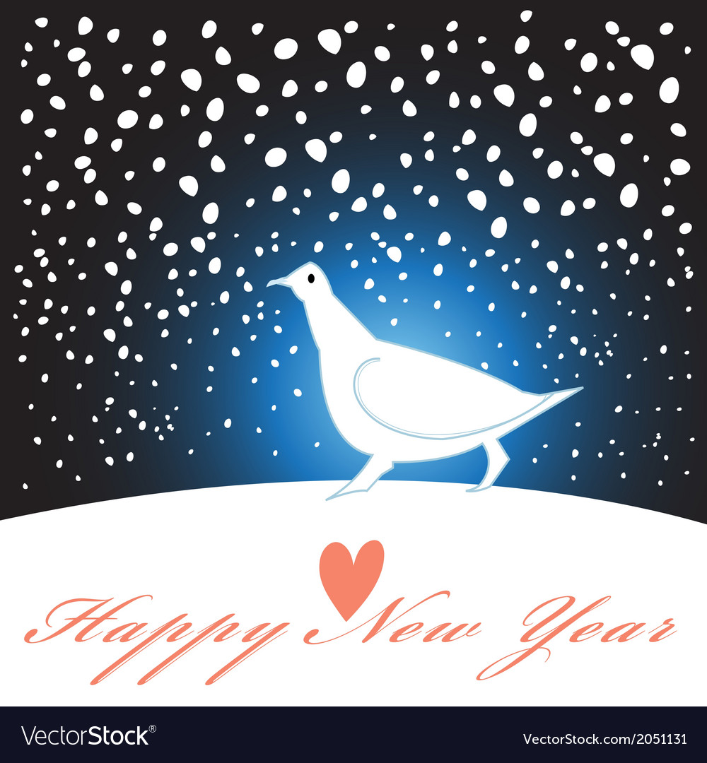 New year greeting card with a white bird vector