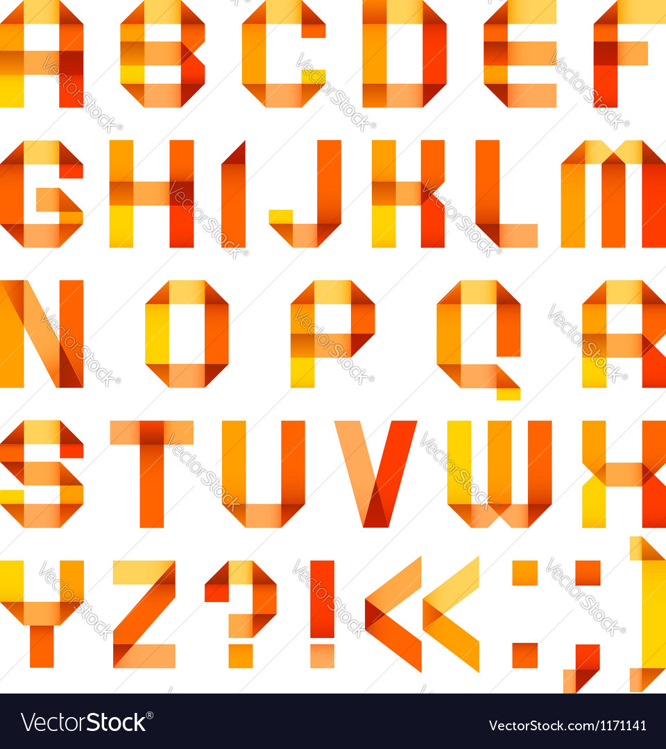 Spectral letters folded of paper ribbonorange vector