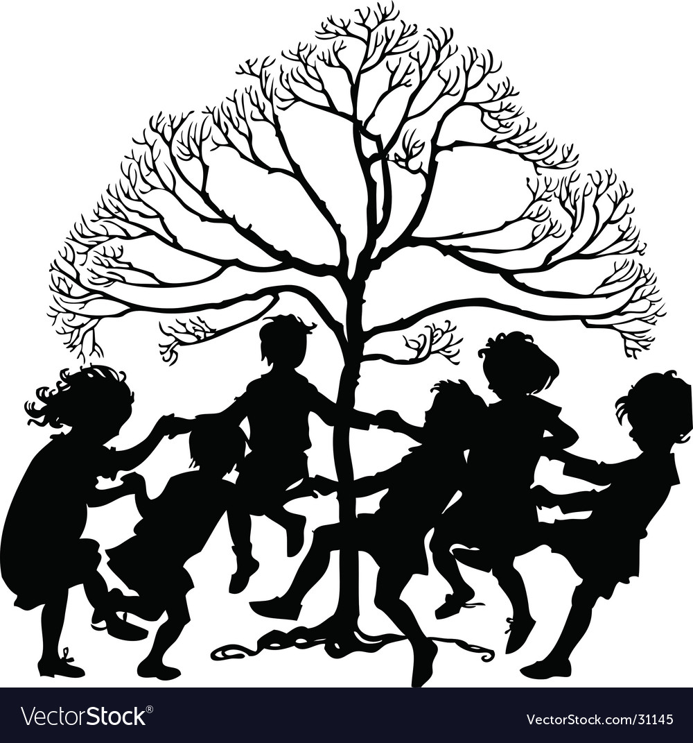Silhouette of children playing vector