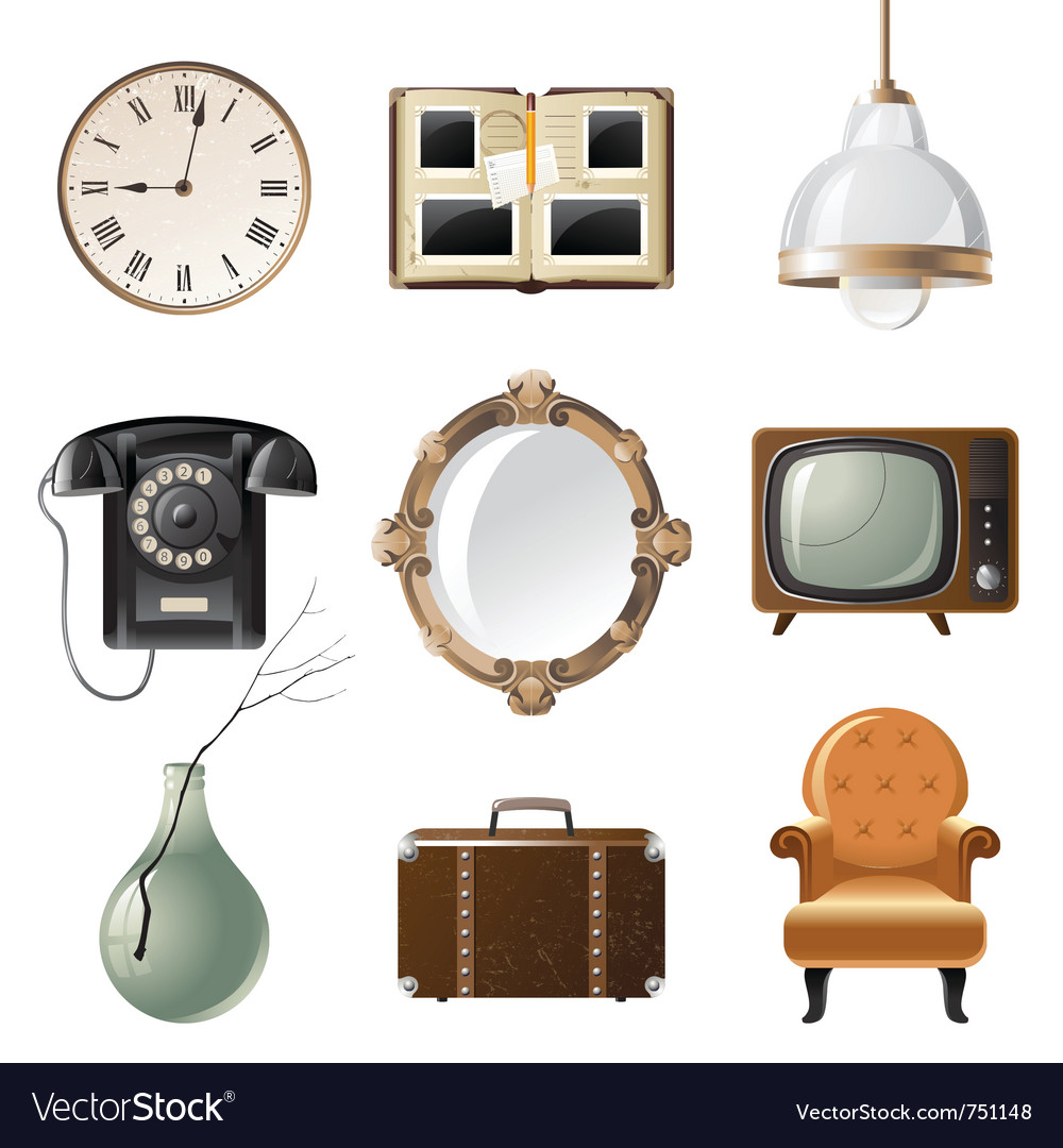 Retro  styled home related objects vector