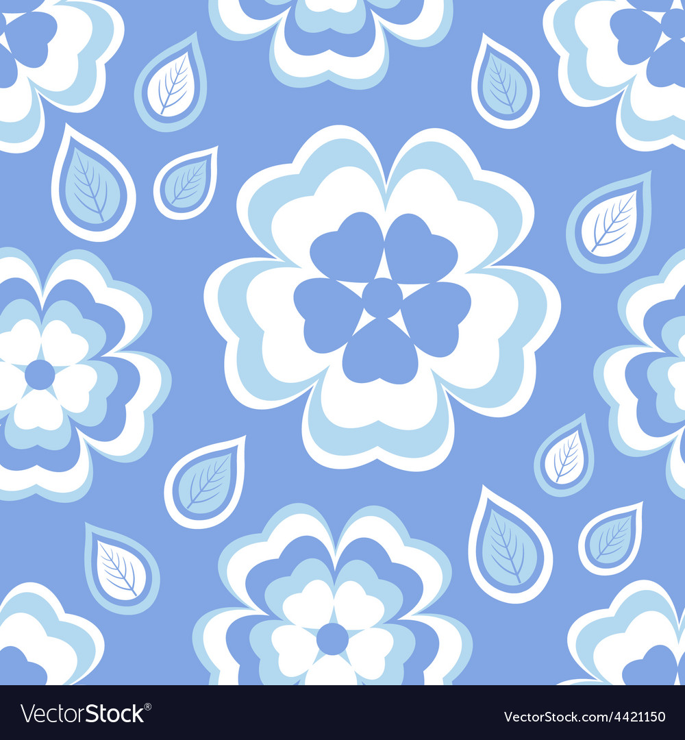 Seamless pattern blue with sakura blossom