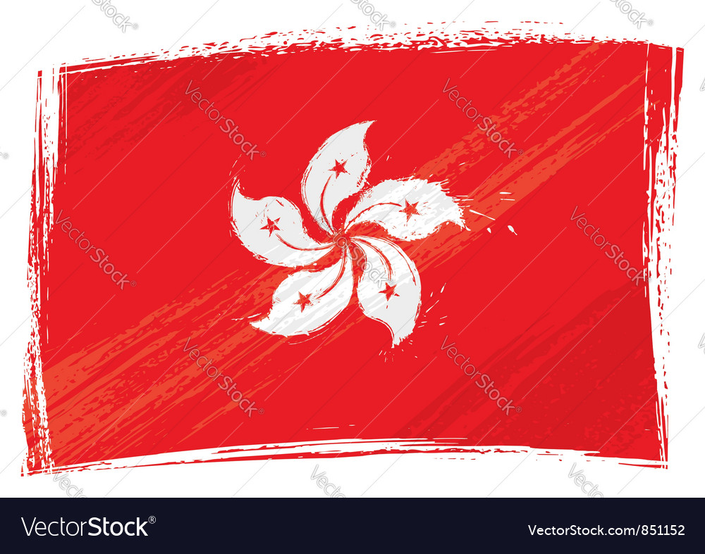 Grunge hong kong flag vector