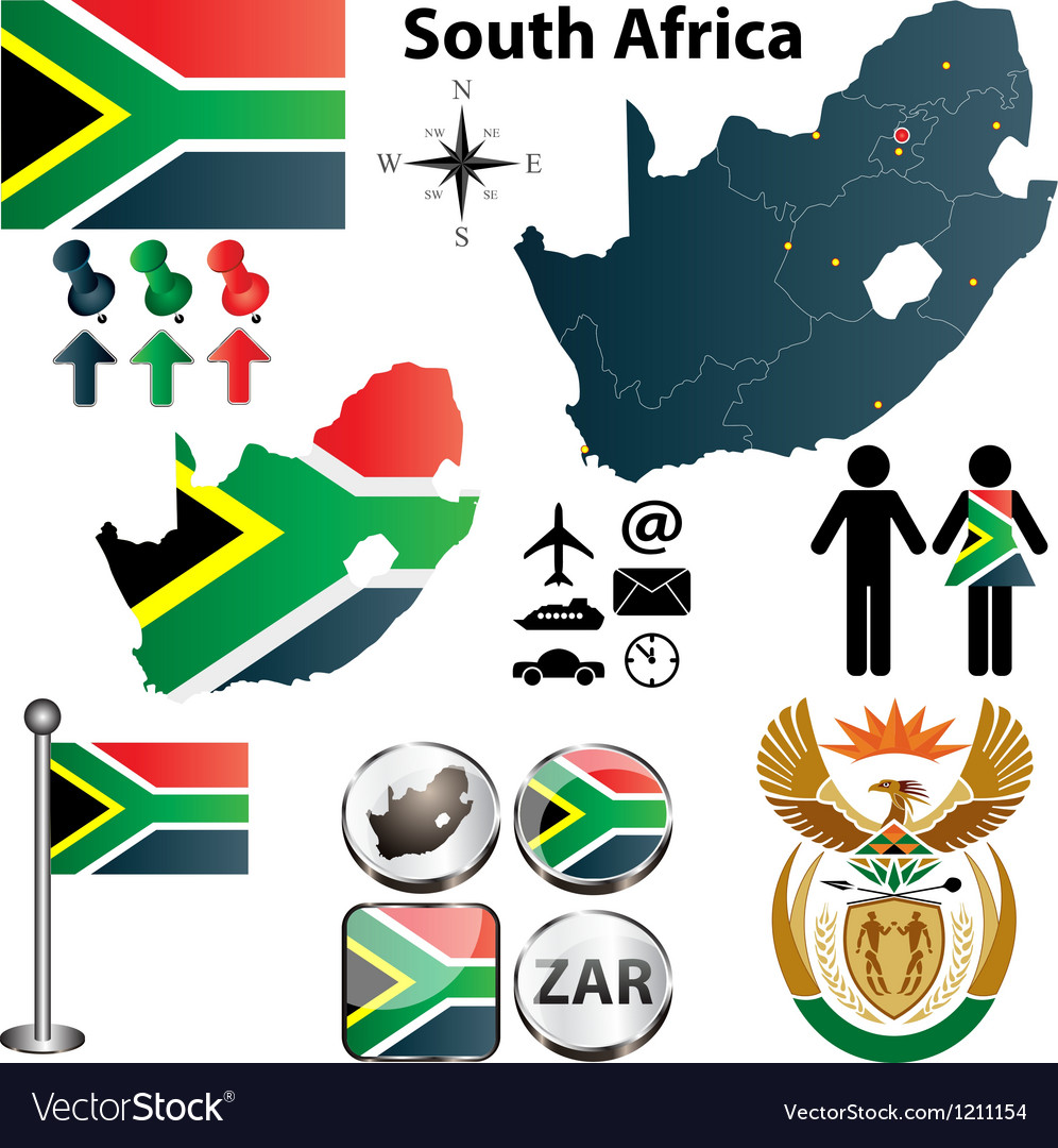 South africa map with regions vector