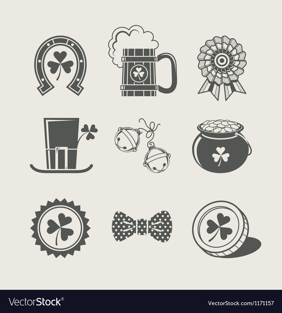 Patricks day set of icons vector