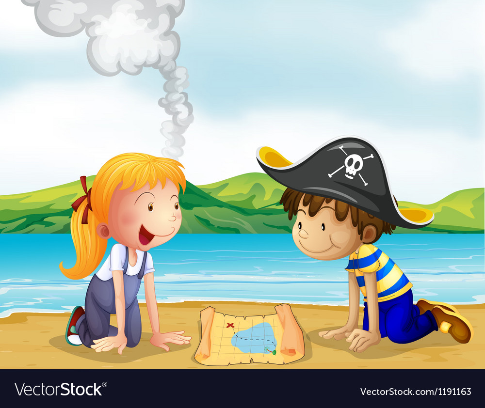 A girl and a boy studying the map vector