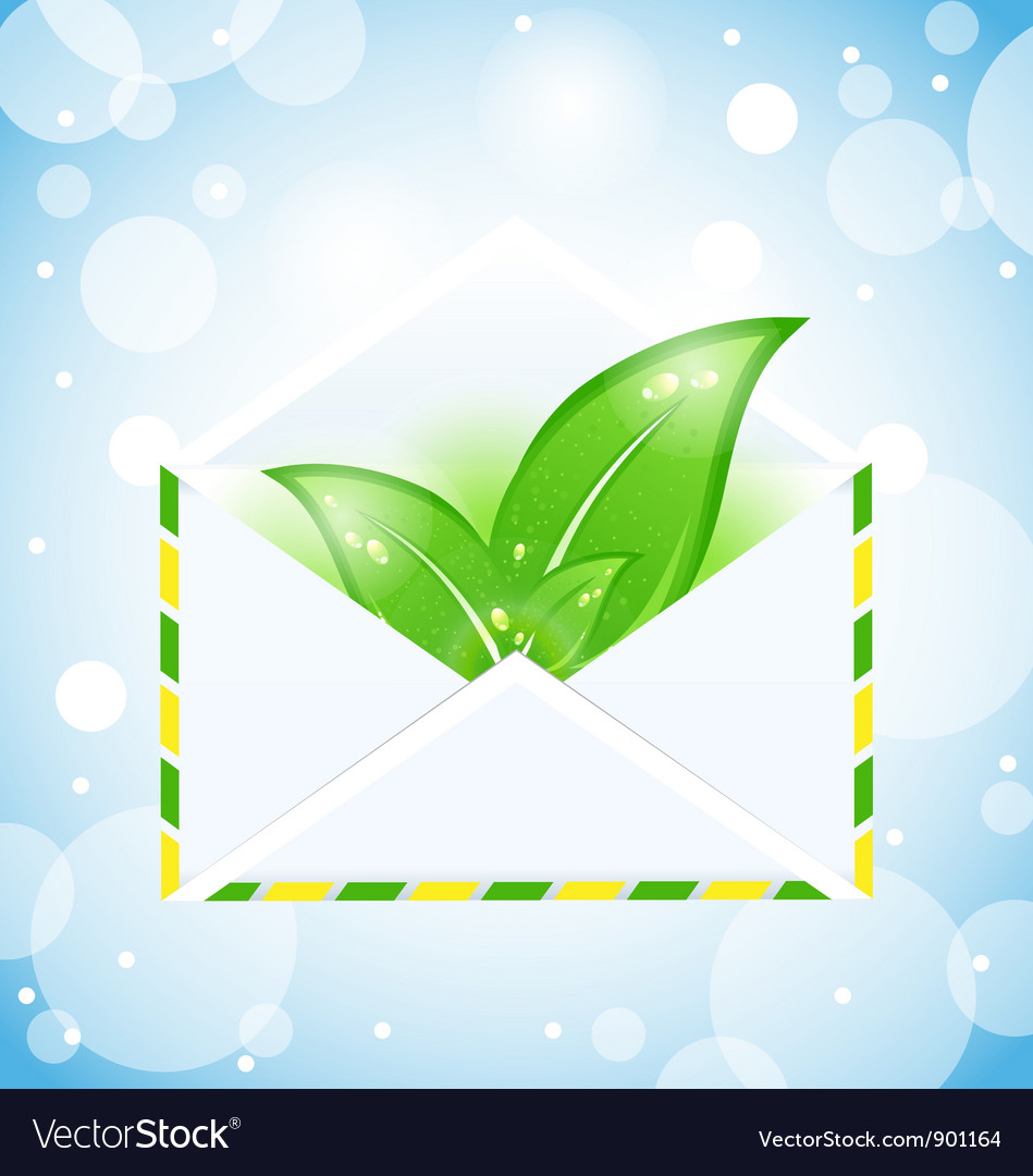 Letter with green leaves vector