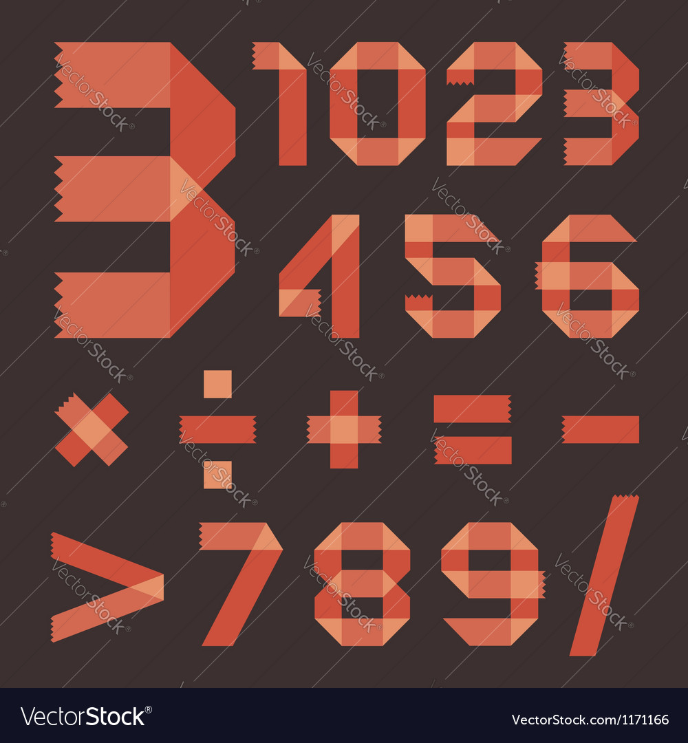 Font from reddish scotch tape  arabic numerals vector