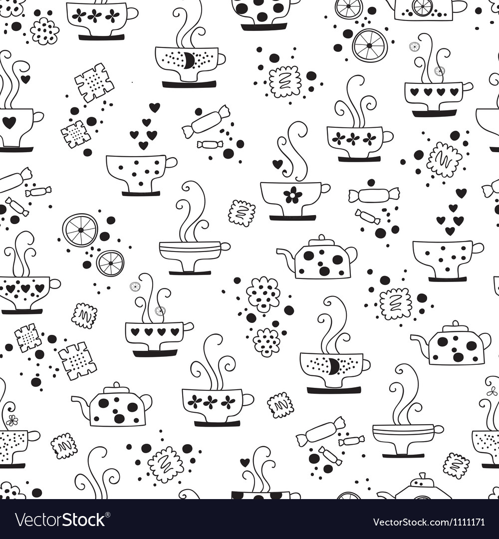 Seamless pattern drinking of tea monochrome vector