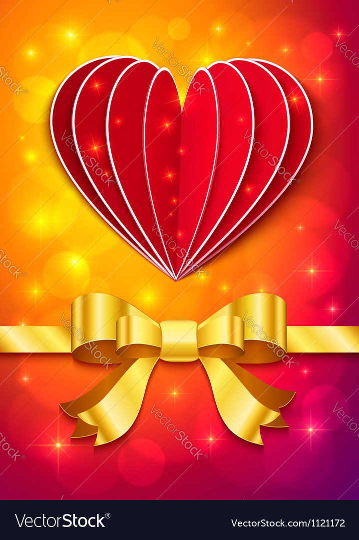 Valentines day greeting card with heart and ribbon vector