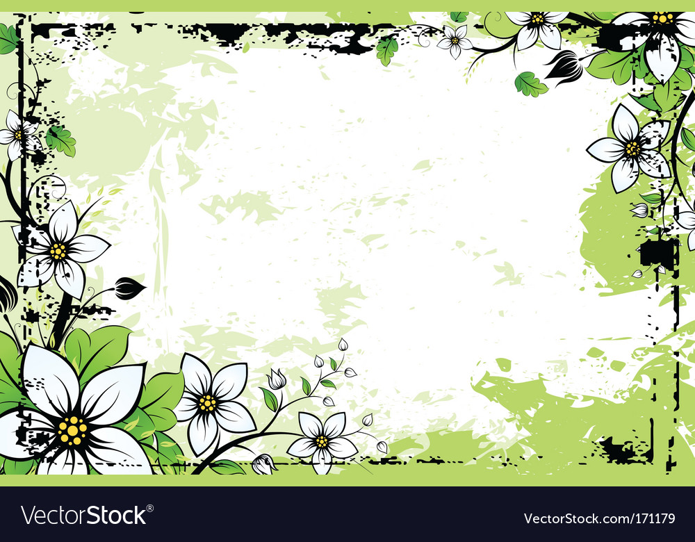 Grunge flower background with leaves vector