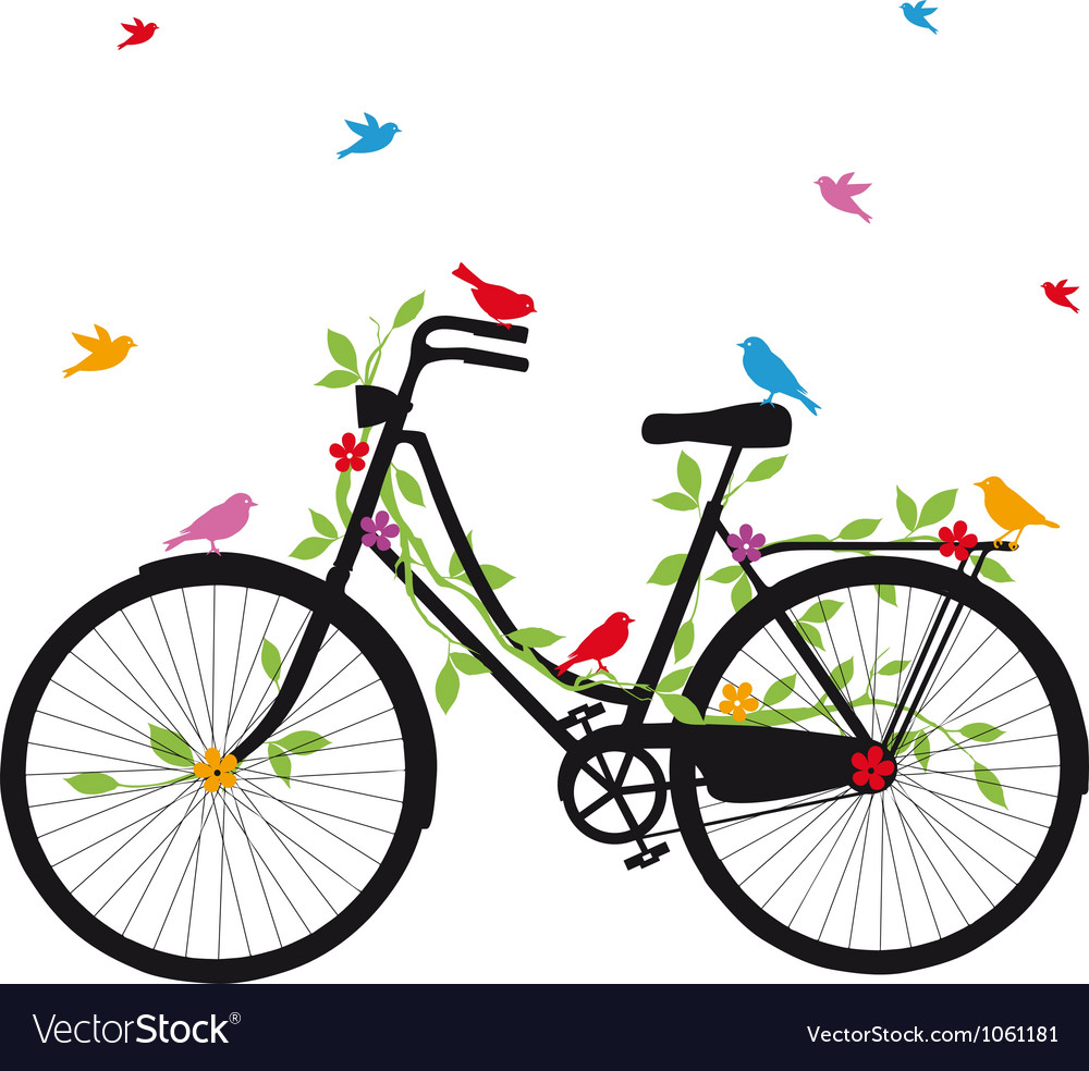 Old bicycle with birds vector