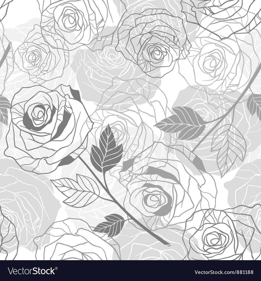 Floral background with roses seamless pattern vector