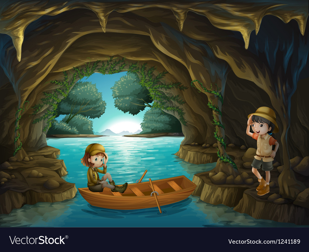 Two brave girls at the cave vector