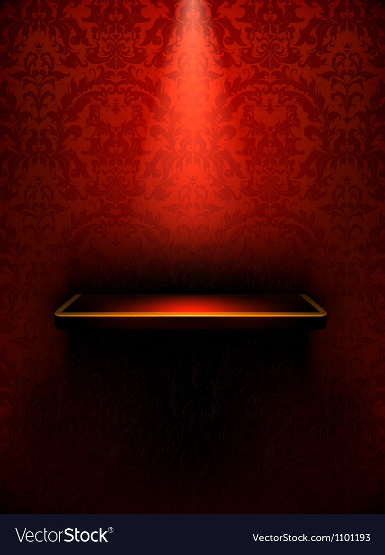 Empty shelf red luxury vector