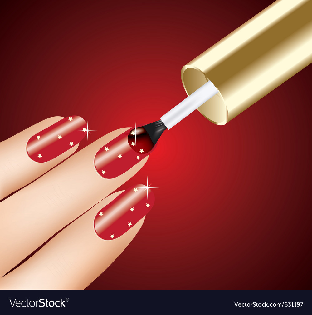 Woman applying red nail polish on fingers vector