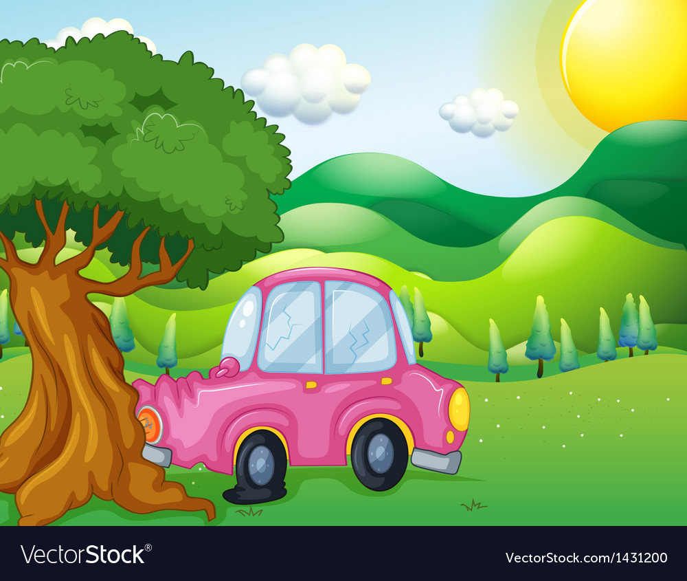 A pink car bumping the big tree vector