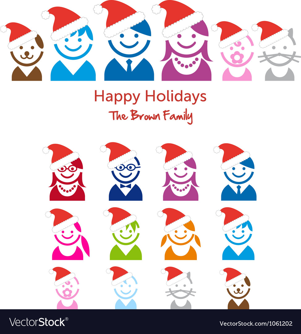 Family christmas card vector