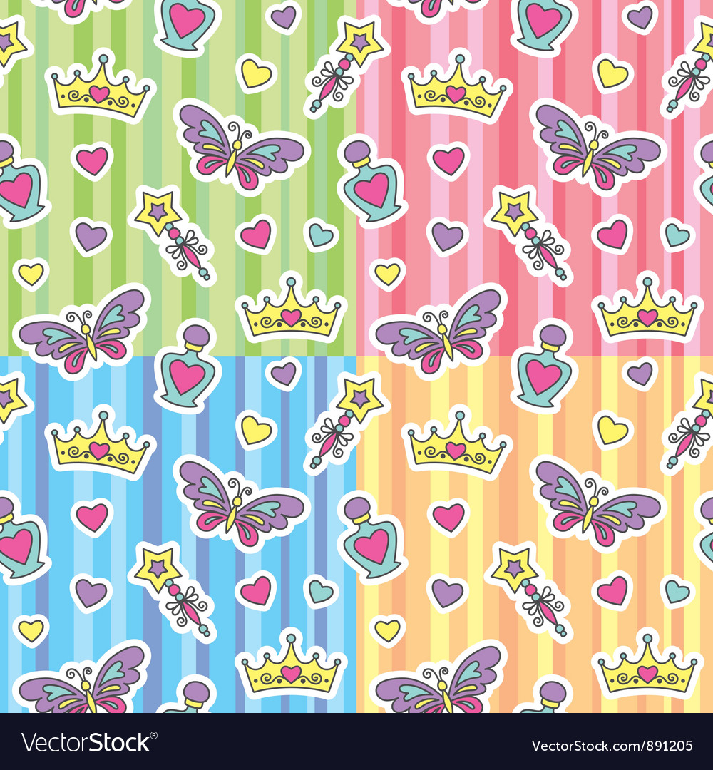 Princess patterns set vector